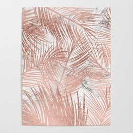 Tropical modern faux rose gold palm tree leaf white marble pattern Poster