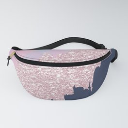 Pink navy blue watercolor brushstrokes glitter Fanny Pack