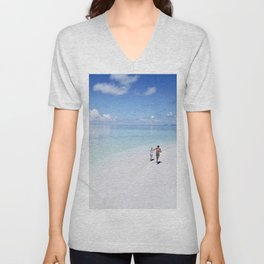Enjoying the Beach in Maldives Unisex V-Neck