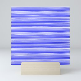 Girly Artsy Ocean Blue Abstract Stripes Mini Art Print