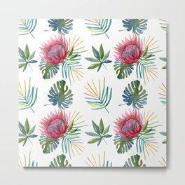 Watercolor Protea Flower Neck Gator Sugarbushes Metal Print