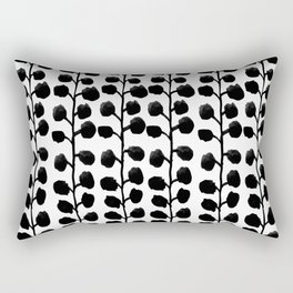 Black and white minimal modern petals leaves bloom spring summer monochromatic urban dorm decor Rectangular Pillow