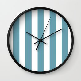Crystal blue - solid color - white vertical lines pattern Wall Clock