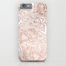 Chic hand drawn rose gold floral mandala pattern iPhone 6 Slim Case
