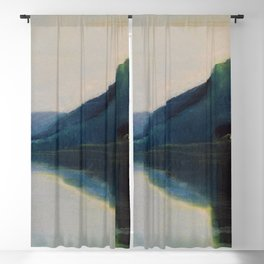 Serenity, Peace, & Quiet of the Early Morning Island landscape by Mikalojus Konstantinas Ciurlionis Blackout Curtain