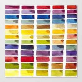 Watercolor Rainbow Tile Canvas Print