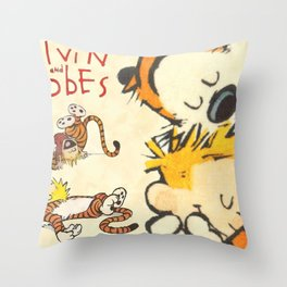 Calvin and Hobbes forever Throw Pillow