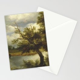Jacob van Ruisdael - Trees on a lake with rowboat Stationery Cards