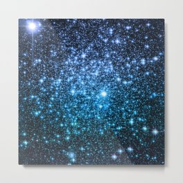 Galaxy Sparkle Stars Periwinkle Blue Turquoise Ombre Metal Print