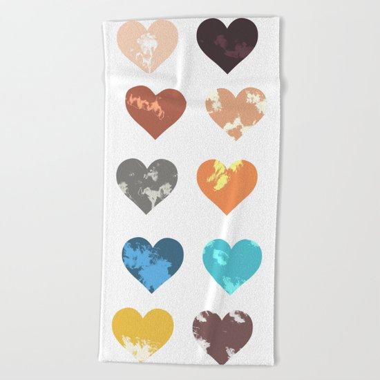 Colorful love pattern Beach Towel