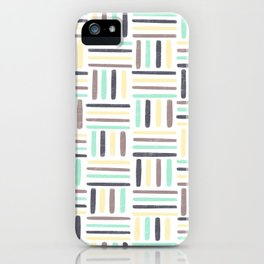 Linear Weave //Basket Weave Design, Pastel colours, green, black, brown, yellow iPhone Case