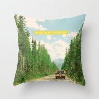 never stop exploring Throw Pillows featuring NEVER STOP EXPLORING IV by Leslee Mitchell