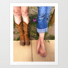 Boots or Bare Feet Art Print