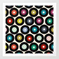 vinyl Art Prints featuring VINYL by Sharon Turner