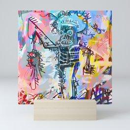 A digitally and roughly vectorised Jean Michel Basquiat Mini Art Print