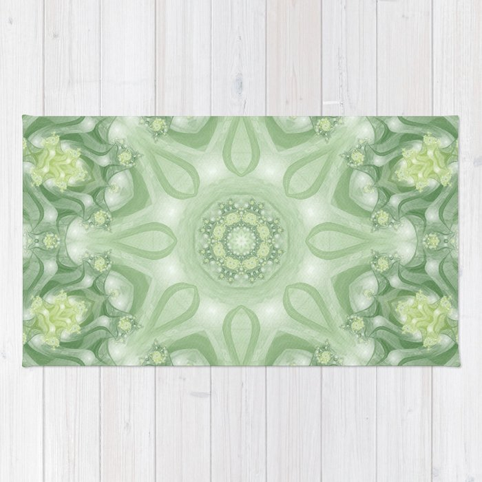 Spring Mandala 02 In Green Yellow And White Rug