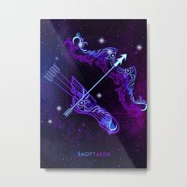 Zodiac neon signs — Sagittarius Metal Print