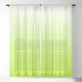 White and Lime Green Gradient 027 Sheer Curtain