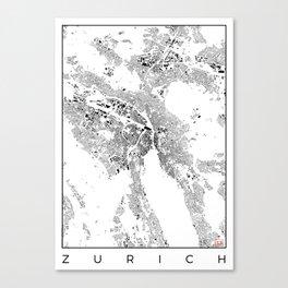 Zurich Schwarzplan Map Only Buildings Canvas Print