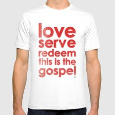 LOVE, SERVE, REDEEM. THIS IS THE GOSPEL (James 1:27) MEDIUM Mens Fitted Tee White