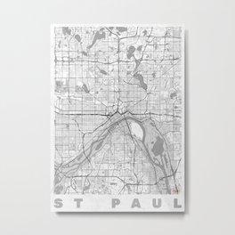 St Paul Map Line Metal Print