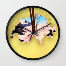 Switzerland ski travel poster. Wall Clock