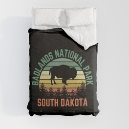 Badlands National Park South Dakota Buffalo Retro Sunset Forest Comforters