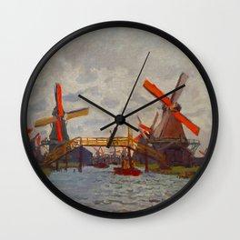 Claude Monet Impressionist Landscape Oil Painting Mills at Westzijderveld near Zaandam Wall Clock