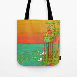 Surf Paradise Dream Home House on Stilts Tote Bag
