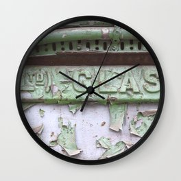 Flaked green paint on old press from Glasgow Wall Clock