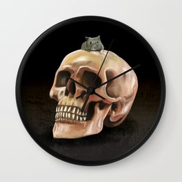 Little mouse and skull Wall Clock