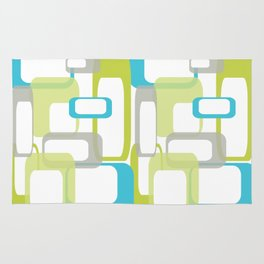 Mid-Century Modern Rectangle Design Blue Green and Gray Rug