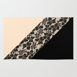Elegant Peach Ivory Black Floral Lace Color Block Rug