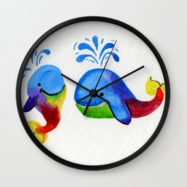 Little Rainbow Whales Wall Clock