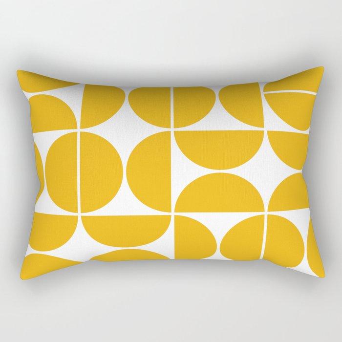 Mid Century Modern Geometric 04 Yellow Rechteckiges Kissen