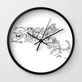 Massachusetts - Hand Lettered Map Wall Clock