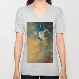 "Jean-Honoré Fragonard ""The goddess Aurora triumphs over night - a bozzetto"" Unisex V-Neck"