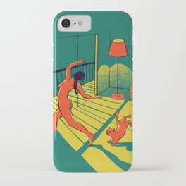 Dancing with the cat | Moody sunset light and shadows Aesthetic Green room Naked dance Femme Fatale iPhone Case