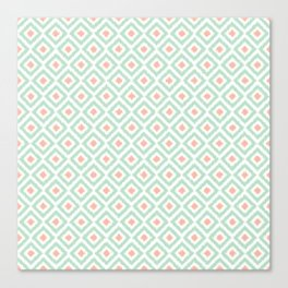 Mint and Coral Diamonds Ikat Pattern Canvas Print