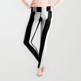 Abstract Black and White Vertical Stripe Lines 12 Leggings