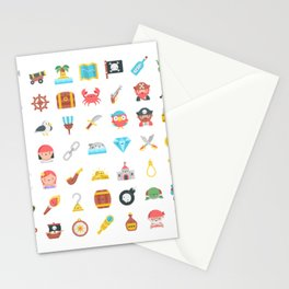 CUTE PIRATES PATTERN (PIRATE SHIP CHARACTERS) Stationery Cards
