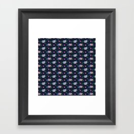 Tiny Flowers Ditsy Floral Navy Blue Framed Art Print