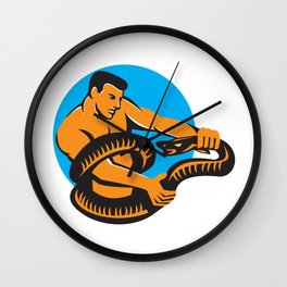 Man Fighting Boa Constrictor Snake Retro Wall Clock