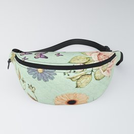 pastel spring flowers and butterflies painting Fanny Pack