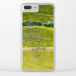 Altogether Too Many Sheep, Aerial Print, Farm Print, Landscape Art Print, Animals Wall Art, Green Clear iPhone Case