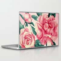 peonies Laptop & iPad Skins featuring Peonies by Lynette Sherrard Illustration and Design
