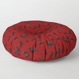 Ravens in Red Floor Pillow
