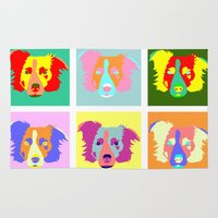 border collie Area & Throw Rugs featuring Border Collie Pop Art by Pound Designs