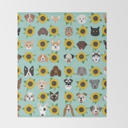 Dogs and cats pet friendly sunflowers animal lover gifts dog breeds cat person Throw Blanket