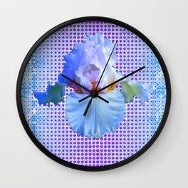 AWESOME BLUISH-WHITE PASTEL IRIS OPTICAL ART Wall Clock